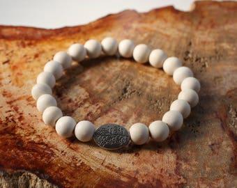 Whitewood Mala Bracelet with Silver Leaf Accent Bead ~ Intention Jewelry, Yoga Jewelry, Mala Bracelet