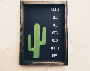 Hello Saguaro- Welcome/Bienvenidos Wood frame with laser cute cacti
