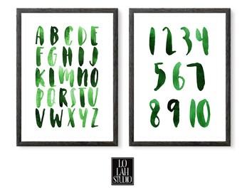 Green Watercolor Alphabet and Numbers Printable Set, Wall Art Print ABC, Green Wall Decor, Kids Room Decor, Typography, Nursery Decor