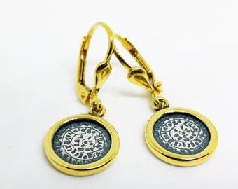 PHAISTOS DISC EARRINGS/Silver 925/ Gold Plated/ History Jewelry/ Greek Ancient Jewelry