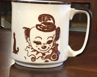 Vintage Circus Mug, Made in Japan, Mid Century Mug, Clown Mug