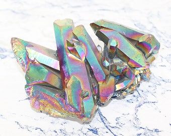 Rainbow Aura Quartz Crystal Cluster, Carved Crystal Aura Quartz Cluster, Rainbow Crystal 101mm 248g