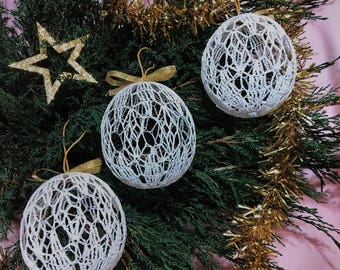Set of Christmas Balls, White Balls, Christmas Decor, Handmade Idea.