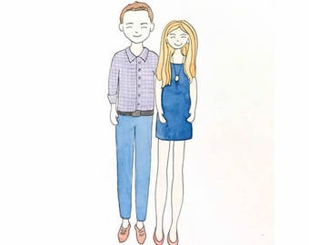 custom illustration, custom illustration portrait, custom portrait illustration, couple portrait Illustration, wedding portrait Illustration