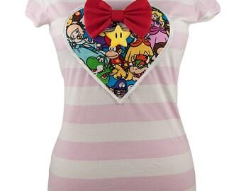 Super Mario pink Sweet-heart Top