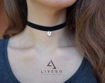 Black Velvet choker. Love choker. Velvet choker with pendant. Black choker. Black ribbon choker. Velvet choker. Choker necklace. Choker