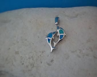 dolphins charm, silver 925 opal dolphins pendant, blue opal sterling silver dolphins charm, blue opal 925 silver tiny jewelry, birthday gift