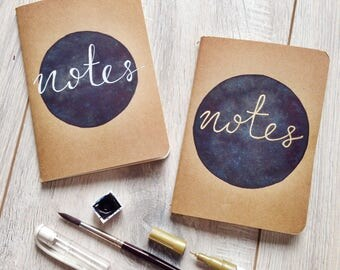Original watercolor notebook notes A6 stationary paper school lettering