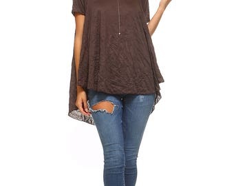 Women's Brown Flowy Tunic, High Low Top, Short Sleeve, Flowy, Ladies Swing Tunic, Size S M L XL - Made in USA
