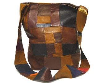 Brown Leather Patchwork Messenger Bag/ Brown leather Shoulder Bag/ Brown leather handbag/ One of a kind/ Statement Bag/ gift for her