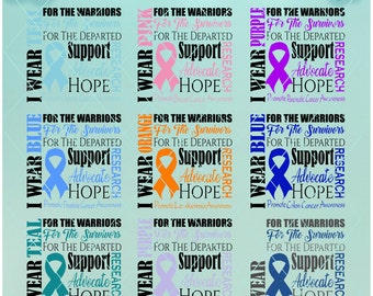 I WEAR... / Cancer Awareness / template Included / I wear Svg / I wear Dxf / I wear Png / Cancer Support / Cancer Research