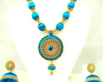 Silk Thread Necklace or Earrings / Indian Jewellery/ Thread Necklace / Earrings