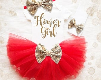 Flower Girl Shirt | Flower Girl Outfit | Flower Girl Gift | Red And Gold Flower Girl Shirt | Wedding Shirt | Flower Girl Tutu Outfit