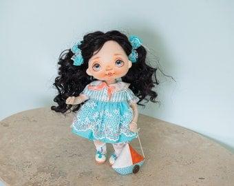 Textile doll, rag doll, fabric doll, cloth doll, art doll, vintage doll, interior doll, OOAK doll, home decor, blue, doll - AliceMoon #83