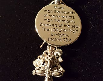 PSALMS 93:4 PENDANT with accented smaller cross charms - lovely !