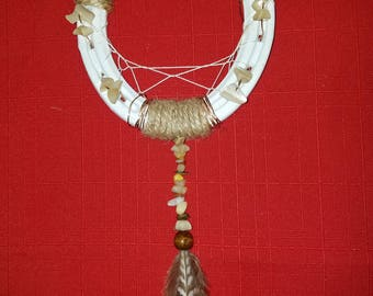 Dangle Stone and Feather Horseshoe Dream Catcher