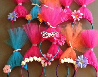 Lot of 11 Trolls Inspired Headbands / Princess Poppy Party Favors