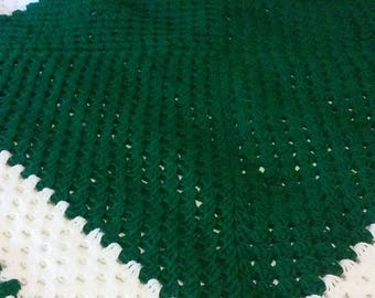 Large Paddy Green and White Blanchet with Paddy Green Trim and Medium Paddy Green and Light Gray with Paddy Green Trim