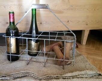 Bottle Basket, Wabi Sabi Decor, Bottle Carrier, Wine Rack, 8 Bottle Carrier, Industrial Decor, Milk Bottle Carrier, Shoe Rack