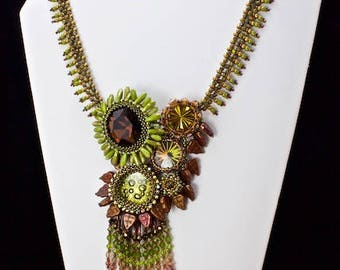 Handmade Green Glass Fringed Necklace