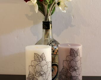Peony and Mandala Scented Pillar Candle