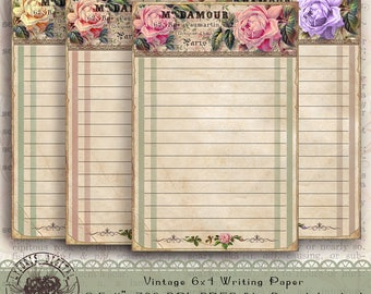 4x6 Flower Writing Paper, 4x6 Floral Stationery Paper, Printable Note Paper, Digital Note Paper, Printable Note Cards, Digital Note Paper