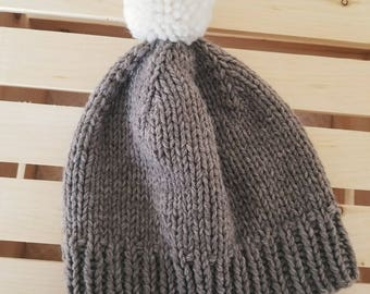 Adult Pom Hat - Brown with white pom