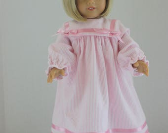 Pink pinstripe flannel nightgown, American Girl flannel nightgown, Fits 18 inch American Girl