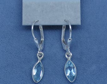 Tiny Genuine Blue Topaz Earrings - Sterling Silver - Leverback - Dainty Petite Small Simple Marquise Classic - 170753