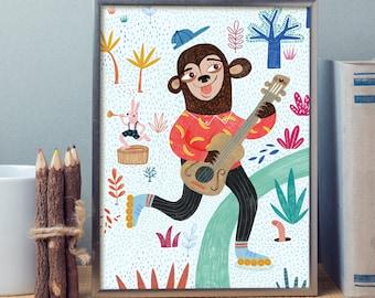 monkey decor for nursery, Monkey decor, monkey nursery, Monkey Playroom Pictures, baby monkey, Monkey Nursery Art, monkey nursery print