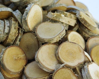 Bunch of white birch tree slices, 50+ or 100+ wood slices, Various blank slices, Floristry supply, Small Rustic Wood Circles, Branch Slices