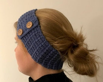 "Headband ""bars and buttons"" with braided patterns and buttons in blue made of acrylic-vegan"