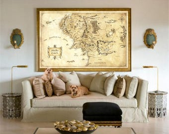 Map of Middle Earth, Lord Of The Rings Poster, Valentines Day Gift, Valentines day Gift For Him, Gift For Boyfriend, Gift for, Middle Earth