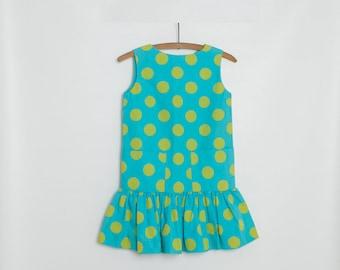 vintage 1960s girl's polka dot drop waist dress