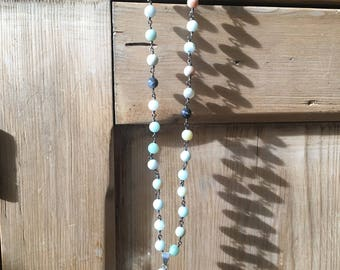 Amazonite Rosary Chain with Green and Brown Agate Pendant