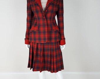 VINTAGE LOEWE Red Tartan Skirt Suit