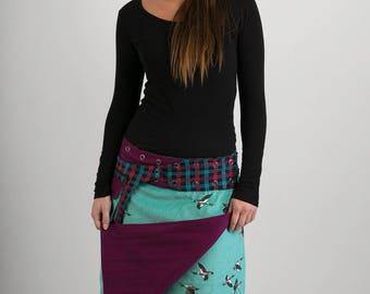 Reversible Purple Wool Green Duck Corduroy Skirt with Tartan Cotton Belt Long Length
