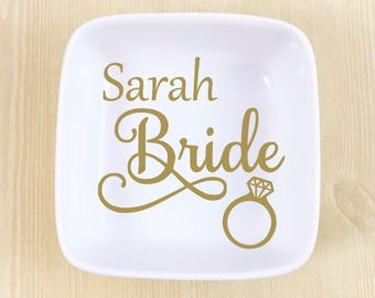 Bride Ring Dish -  Bride Jewelry Dish - Bride Jewelry Dish - Wedding Ring Dish - Wedding Gift - Bride Gift - Engagement Gift - Bridal Gift