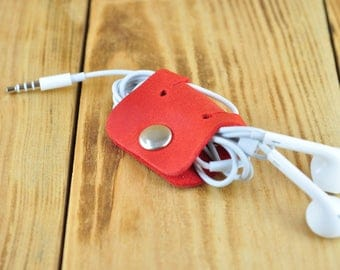 Red leather cable holder, Leather cord organizer, Leather earbud holder, Leather cord holder, Headphone holder, Leather cable organizer