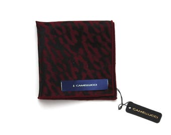 Men's Maroon Black Silk Pocket Square Handkerchief Hanky Hankie Squares Camellucci