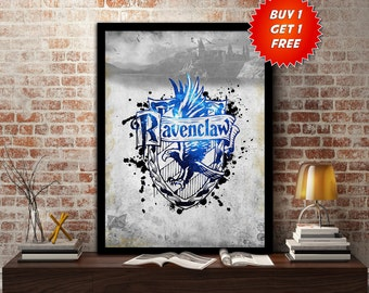 Ravenclaw,House, Print, Poster, Fan Art, Harry Potter, Crest, Hogwarts, Crown,Birthday, Gryffindor, Hufflepuff, Slytherin,Mothers Day