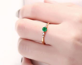 Unique engagement ring Vintage Emerald ring delicate diamond Cluster ring wedding women bridal Jewelry Alternative Anniversary gift for her