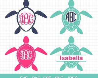 Sea Turtle SVG, Sea Turtle Monogram frames SVG, Sea Turtle Silhouettes, summer svg, beach svg, for CriCut Silhouette, svg eps jpg png dxf