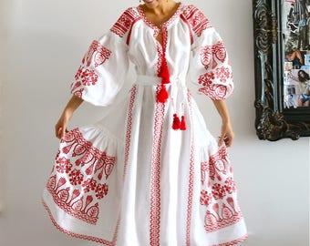 IN STOCK Ukrainian dress Vyshyvanka embroidered dress Long Summer dress Party dress Arabic kaftan Boho dress Abaya Mexican dress  plus size