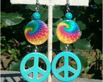 Tie dye peace sign earrings. Choose your own color!