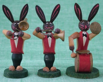 Vintage Painted Wooden Musical Band of Rabbits