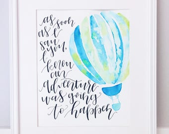 Nursery Art, Nursery Print, Nursery Watercolor Art, Hot Air Balloon: As soon as I saw you, I knew an adventure was going to happen
