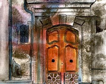 French doorway rustic Paris french splash art collectible Fine art Print FROM original watercolor by Jennifer Redstreake