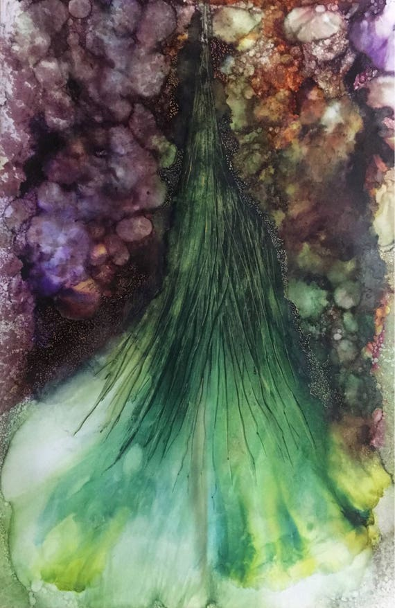 "Large Original Alcohol Ink Abstract: ""Viennese Waltz"" (23"" x 35"")"