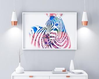 Zebra Print, Zebra Wall Art, Colourful Wall Prints, Bright Prints, Animal wall prints, nursery prints, Nursery decor, Home Decor Prints,